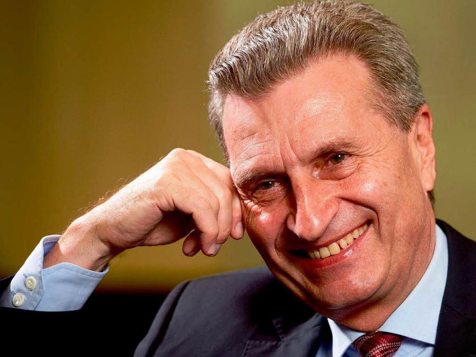 """Günther Oettinger: """"Wir haben lö...zept für die Herkunftsregionen.""""    Foto: dpa"""