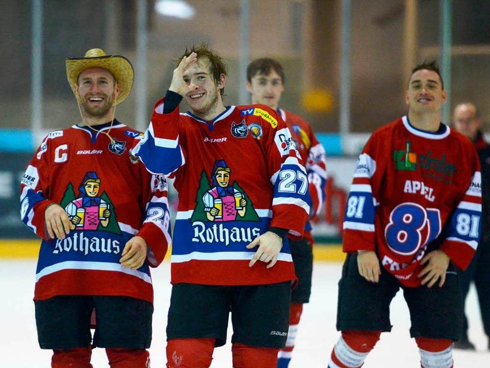 Auch auswärts erfolgreich: die Spieler vom EHC Freiburg.  | Foto: Patrick Seeger