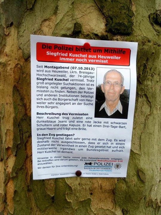 Immer noch vermisst: Siegfried Kuschel...h mit Hilfe von Flugblättern gesucht.   | Foto: Drescher