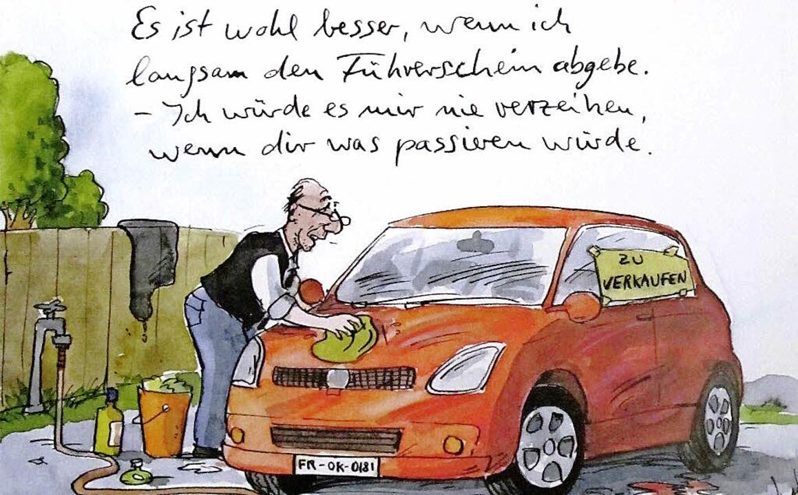 Auch diese Karikatur von Peter Gaymann wird  versteigert.  | Foto: zvg