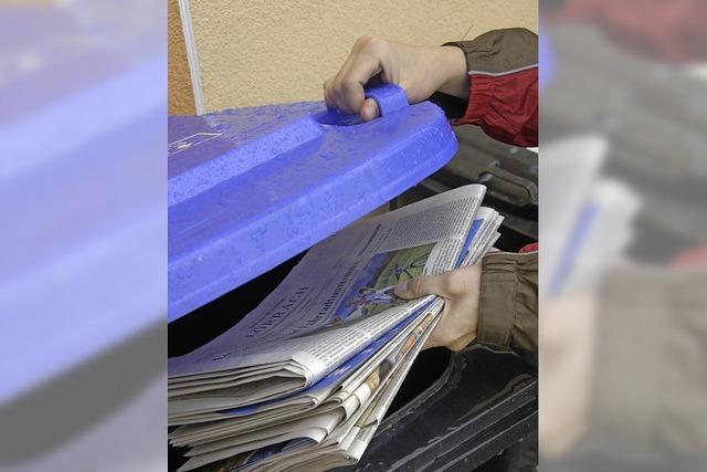 Papiertonne in Vorbereitung
