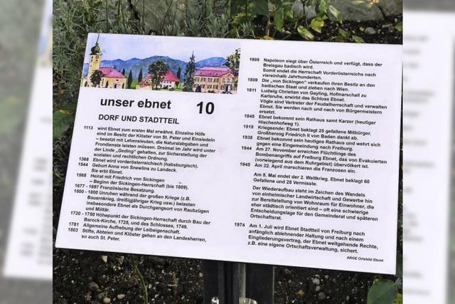 18 Infotafeln für Ebnet