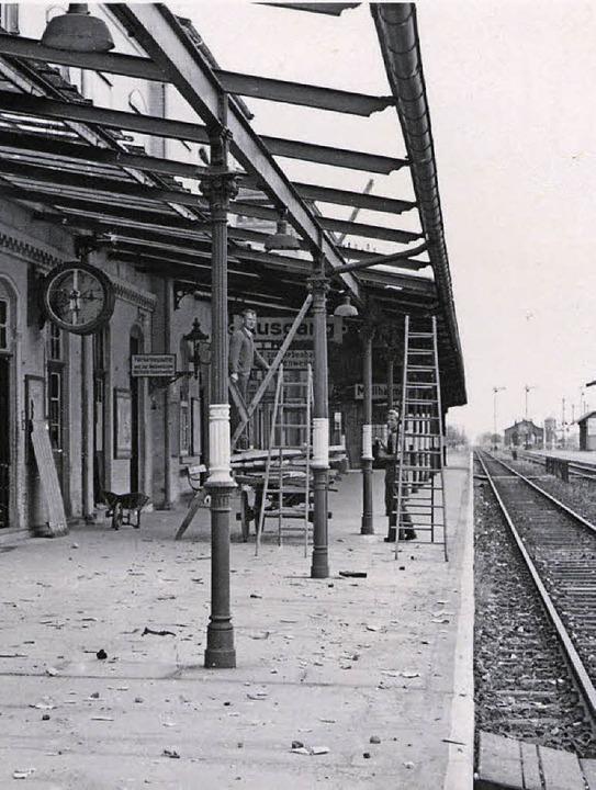 Der Müllheimer Bahnhof zu Kriegszeiten   | Foto: Privat