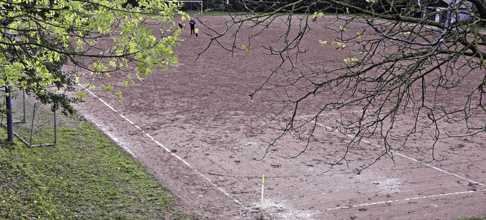 Trostlos ist der Hartplatz des FC Heit...asenplatz die marode Anlage ersetzen.     Foto: martin pfefferle