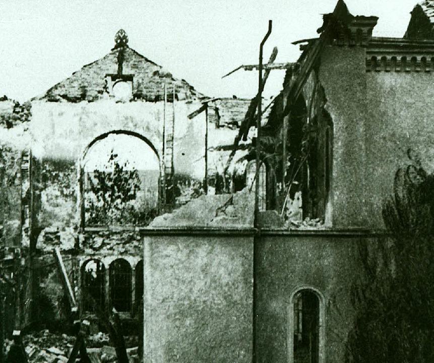 Die Freiburger Synagoge nach dem Brand  | Foto: Stadtarchiv