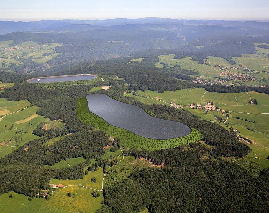 Das bestehende Hochbergbecken (hinten)...peichersee bei Atdorf ergänzt werden.   | Foto: Animation/Schluchseewerk