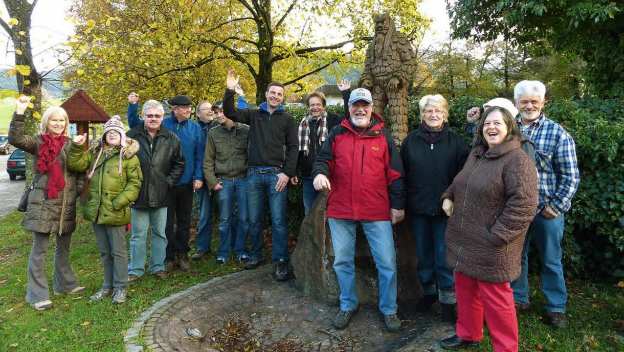 Am Schreck-Brunnen trafen sich die Obe...Narren zur Eröffnung der Fasnet 2014.     Foto: Barbara Odrich-Rees