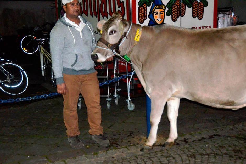 Ein demonstrierender Landwirt hatte ein Kuh mitgebracht – ein Tier namens Lärche. (Foto: Gerhard Walser)