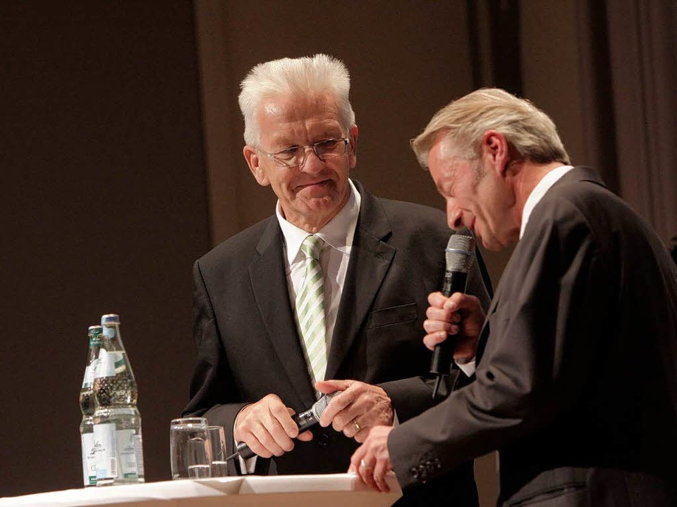 Ministerpräsident Winfried Kretschmann und  BZ-Redakteur Stefan Hupka.  | Foto: Patrik Müller