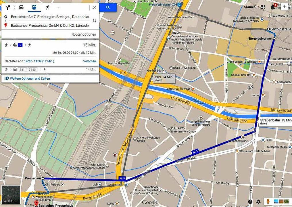 Google Maps zeigt jetzt auch die  VAG-Verbindungen an.  | Foto: Joachim Röderer