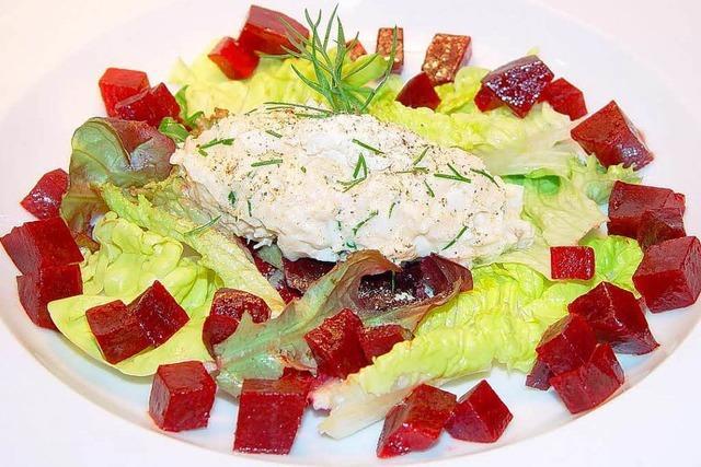 Weihnachtsmenü Vorspeise: Fischrillette und Baguette
