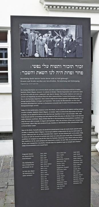 Die Gedenkstele für die jüdischen Nazi-Opfer in der Teichstraße.    Foto: Ehrentreich