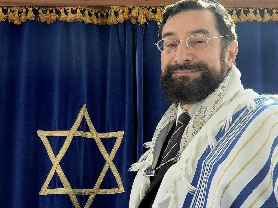Rabbiner Moshe Ben Towia Navon bei sei...mber 2011 in der Emmendinger Synagoge.  | Foto: Markus Zimmermann