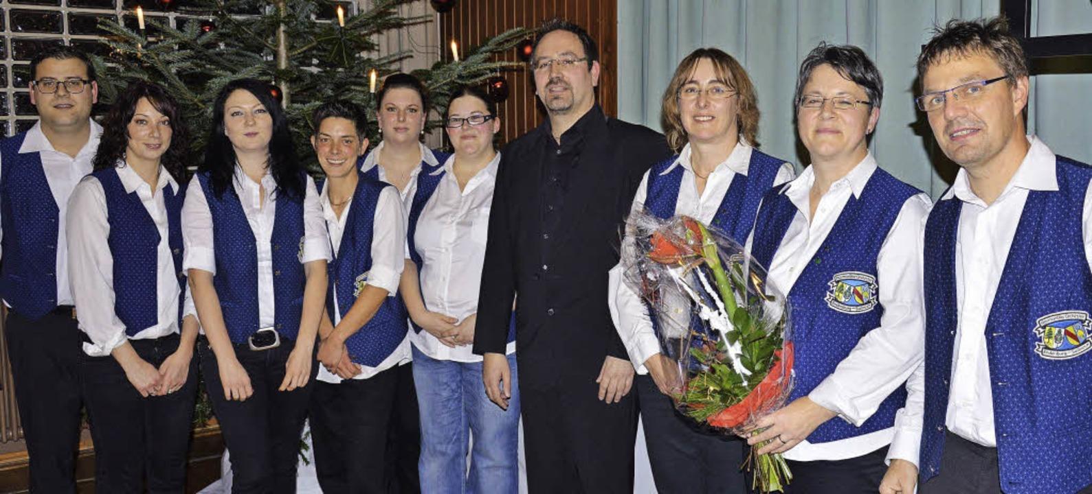 Geehrten wurden beim Jahreskonzert des...r. Rechts Vorsitzender Markus Dreher.     Foto: Georg Diehl