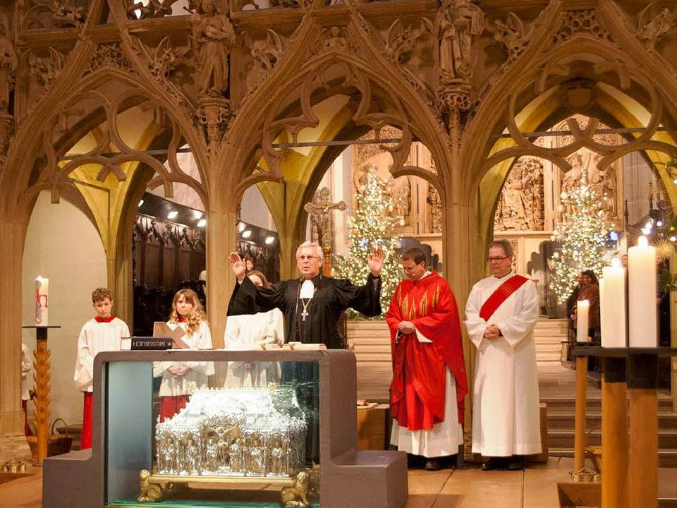 Der Landesbischof der evangelischen Ki...gt zum Münsterpatrozinium in Breisach.  | Foto: Martin Hau