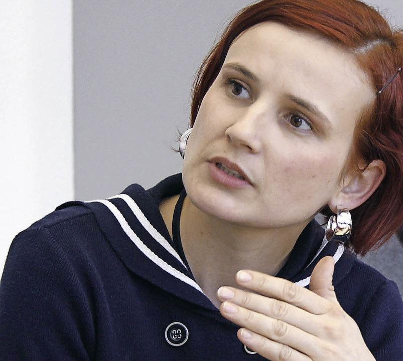 Katja Kipping, Parteivorsitzende der L...m Gespräch mit der Badischen Zeitung    | Foto: WOLFGANG GRABHERR