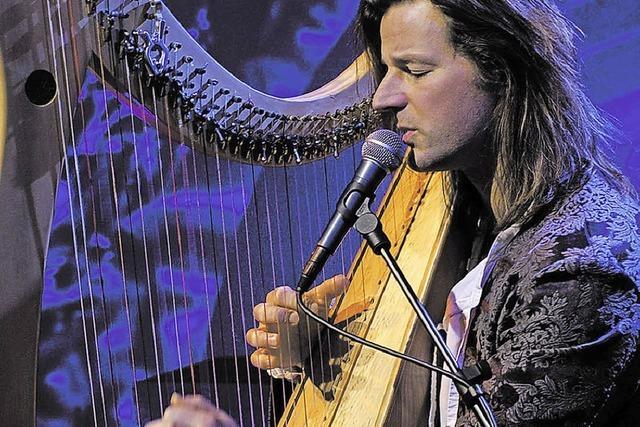 Der Harfenist Andy Lang spielt im Schloss Beuggen