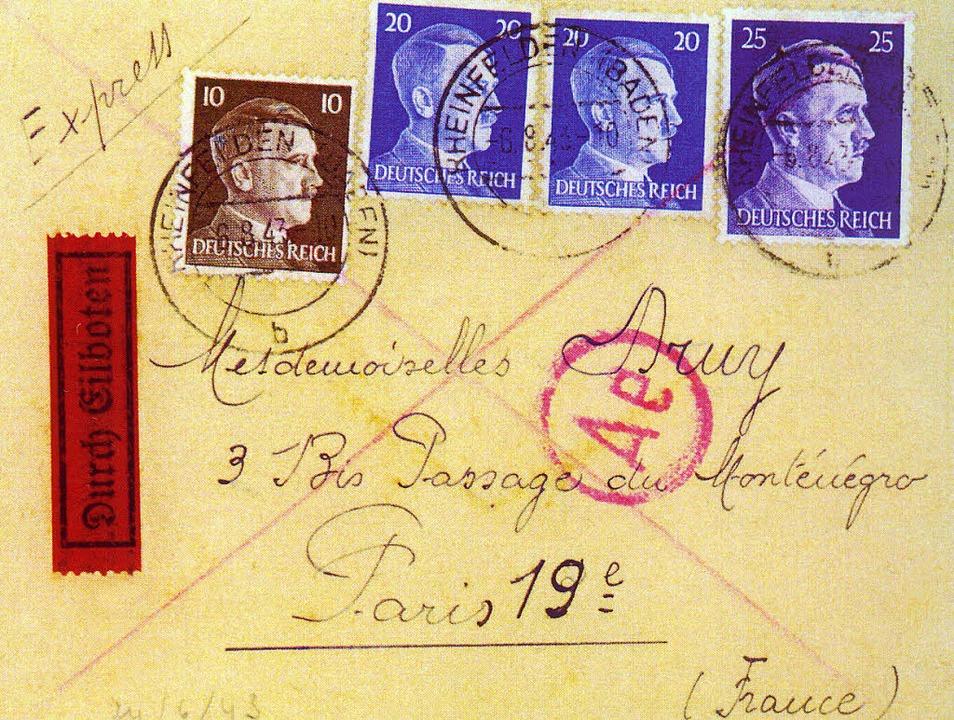 Zeitgeschichte: Dieser Brief wurde ver...gsgefangenen in Rheinfelden aufgeben.     Foto: Repro:privat