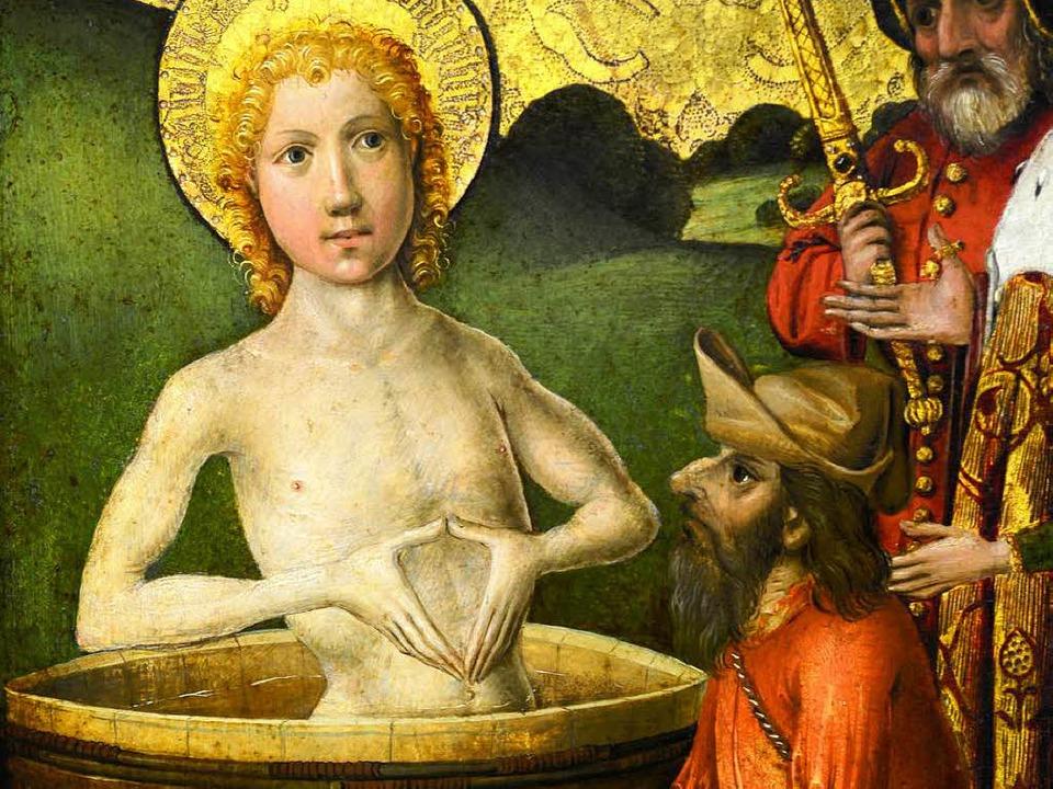 Märtyrer Johannes  auf dem Ausschnitt ...nstwerks des Augustinermuseums um 1540  | Foto: Repro: Ingo Schneider