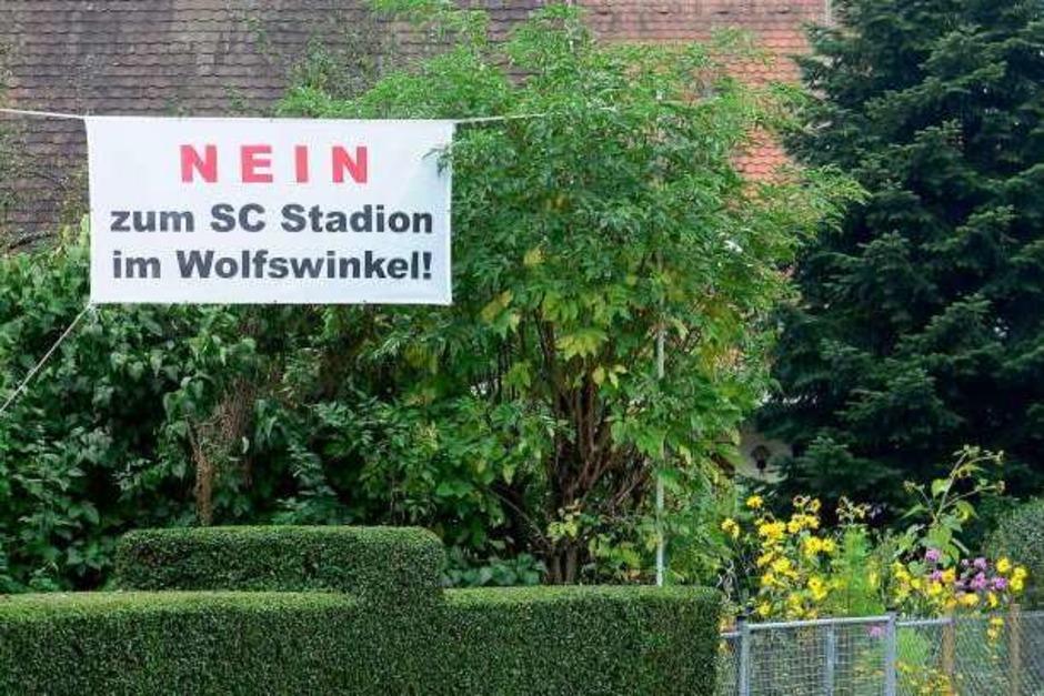 Protest gegen das geplante SC-Stadion im Wolfswinkel (Foto: Ingo Schneider)