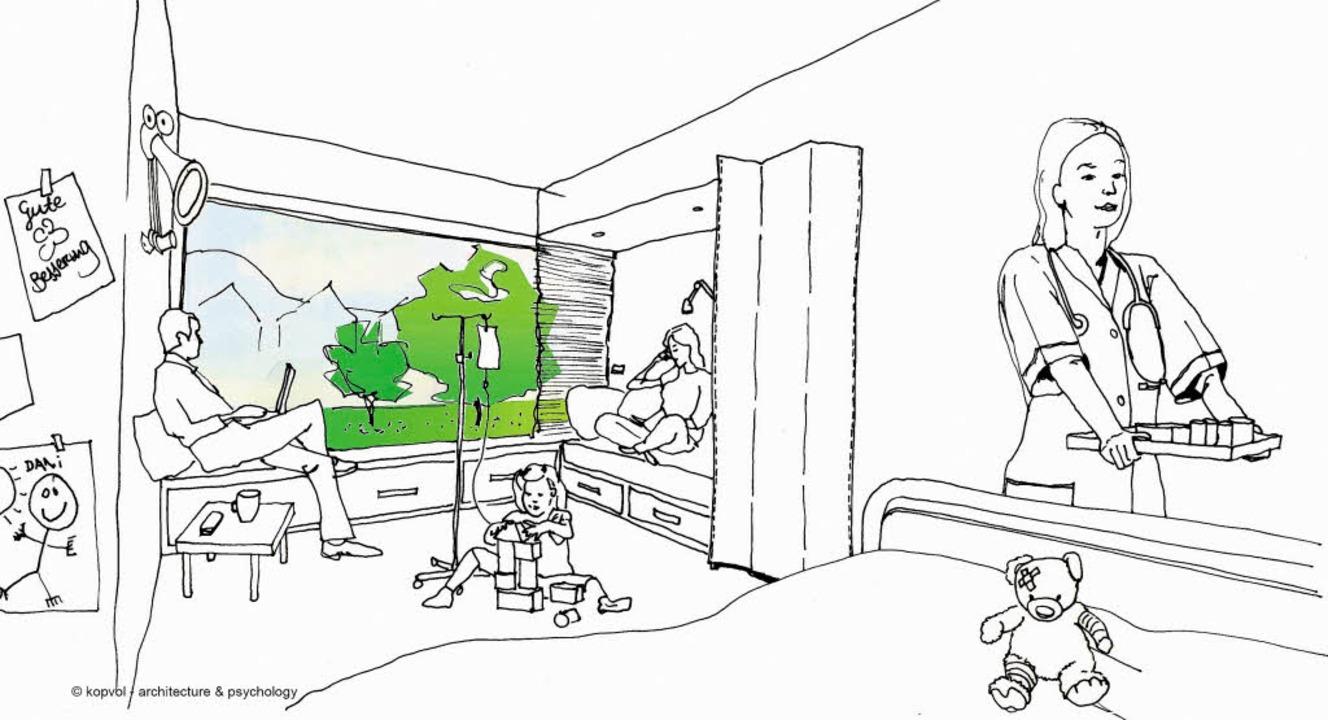 So könnte eines der neuen Behandlungszimmer  aussehen.    Foto: Skizze: Kopvol Architecture & Psychology