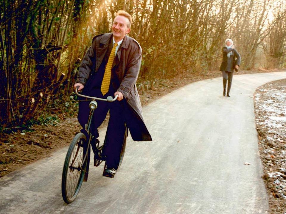 1998: Ein Bild aus den ersten Amtstage...ich bei seinen Terminen zu erscheinen.  | Foto: Gottfried Blansche