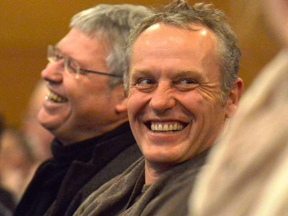 Christian Streich, Cheftrainer der Fre...e – und kann dabei sogar lachen.  | Foto: Michael Bamberger