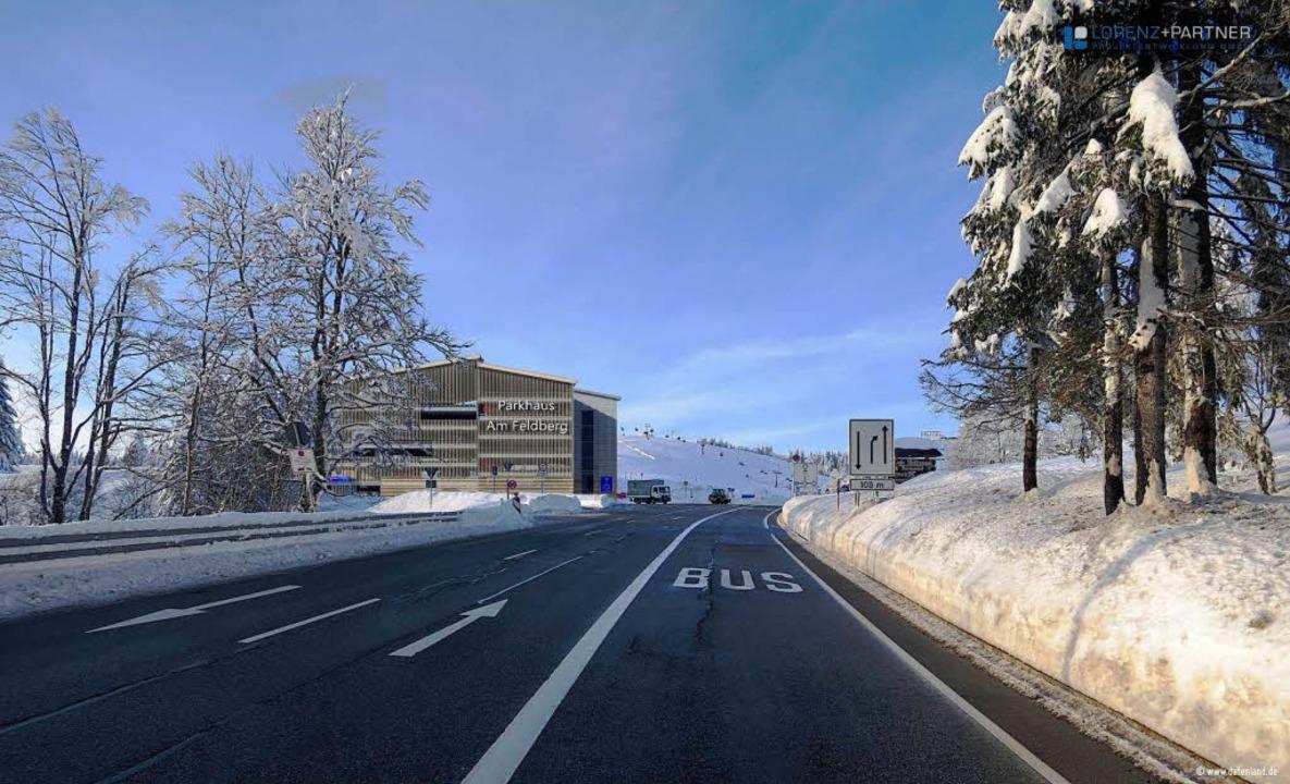 So zeigt sich das Parkhaus Feldberg bei der Anfahrt.     Foto: Fotomontagen: Lorenz und Partner