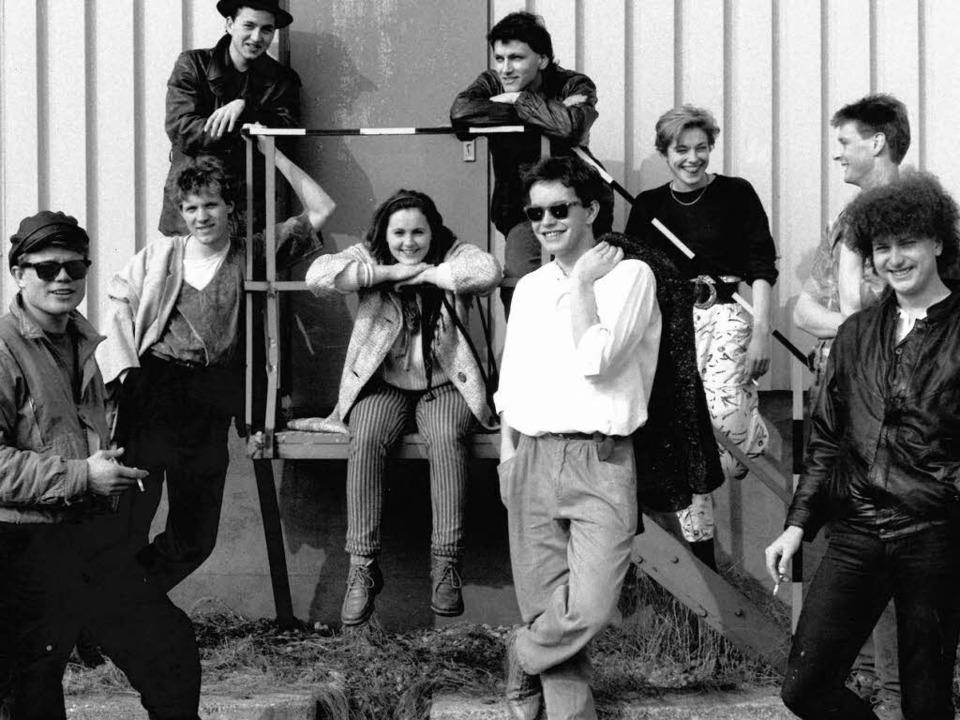 Steffen Kühn (mit Hut, hinten links) 1...er Freiburger Funkband What's Up    Foto: BZ-Archiv