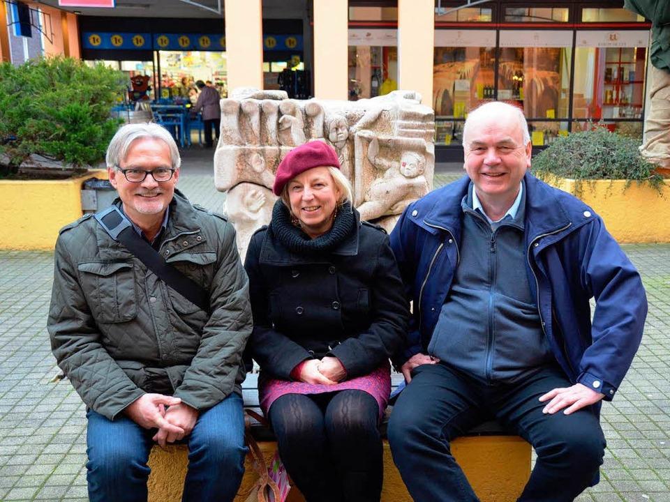 Für den Autozug: (von links) Günter Sc...ern Holstein (DB-Betriebsrat, Hamburg)  | Foto: Nikolaus Trenz