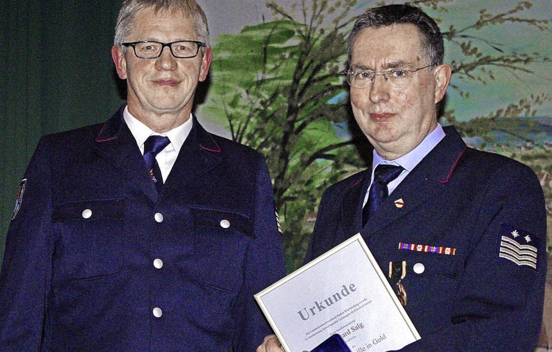 Günter Lenke (links) Vorsitznder des K... an Gerhad Salg die Ehrennadel in Gold  | Foto: Rolf Reißmann