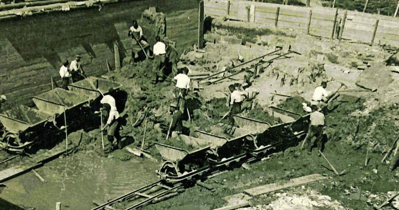 Bau Schutterentlastungskanal 1934    Foto: Regierungspräsidium Freiburg