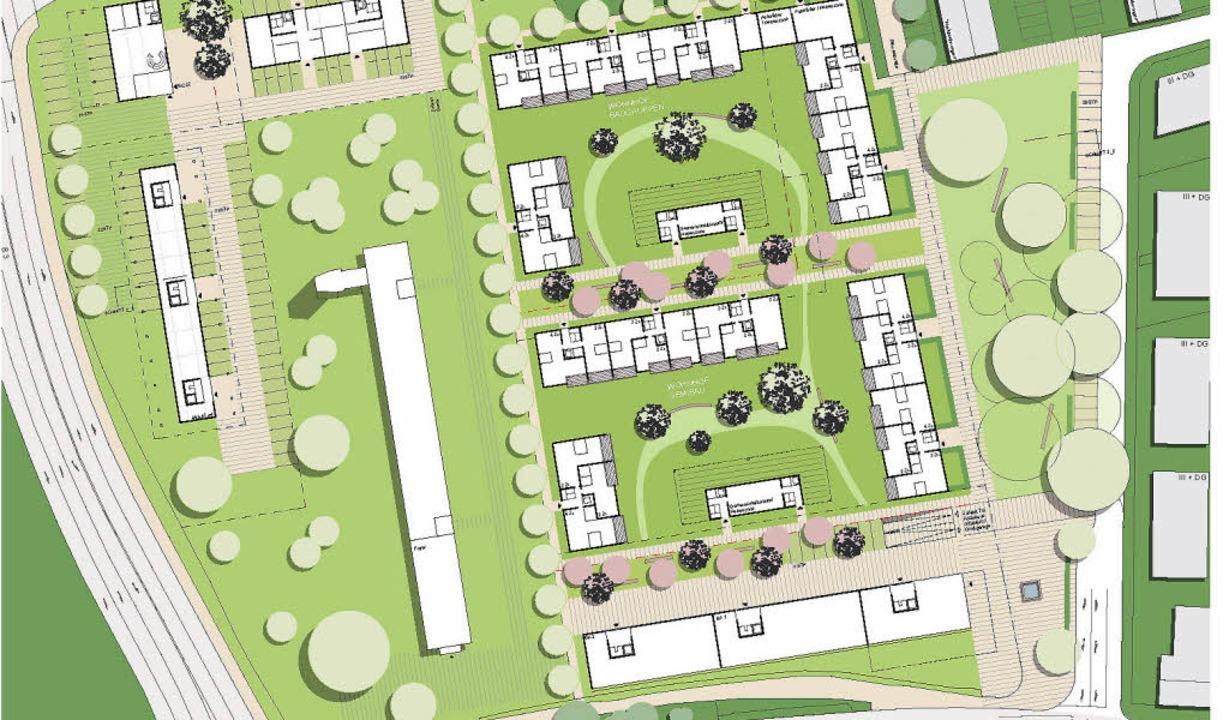 Orientierungsanker des Quartierplans  ...ntrum und eine Hochgarage vorgesehen.   | Foto: Repro:  Siegerentwurf Franz und Geyer Architekten