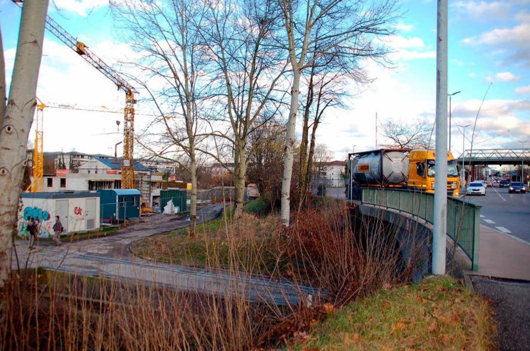 Links wird gebaut, rechts gefahren: Da...hein-Au-Baugebiets wollen oder nicht.   | Foto: Hildegard Siebold