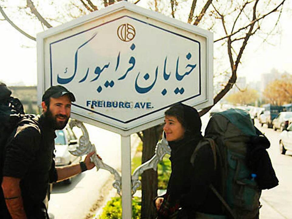 In der iranischen Metropole Isfahan er...ne Tafel an die Partnerstadt Freiburg.  | Foto: BZ
