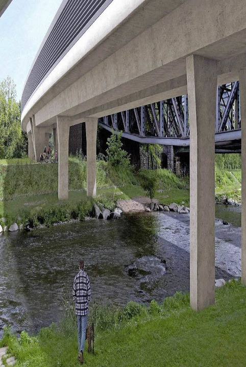 Der Entwurf der neuen Brücke über die Wiese     Foto: Visualisierung:  Bahn