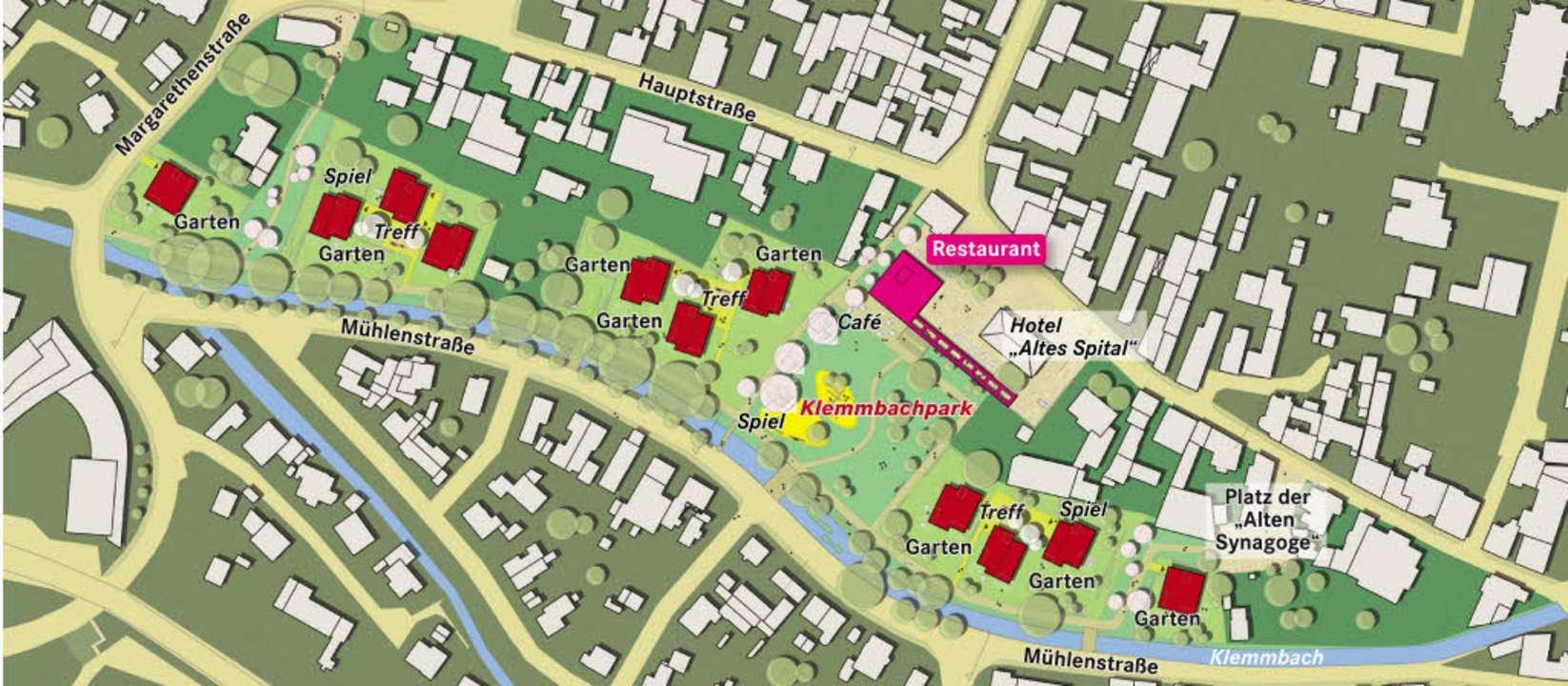 Der Gewinner-Entwurf sieht drei Hausgr...wie Einzelgebäude im Westen und Osten.  | Foto: <BZ-FotoRepro>Stadt Müllheim/BZ-Grafik