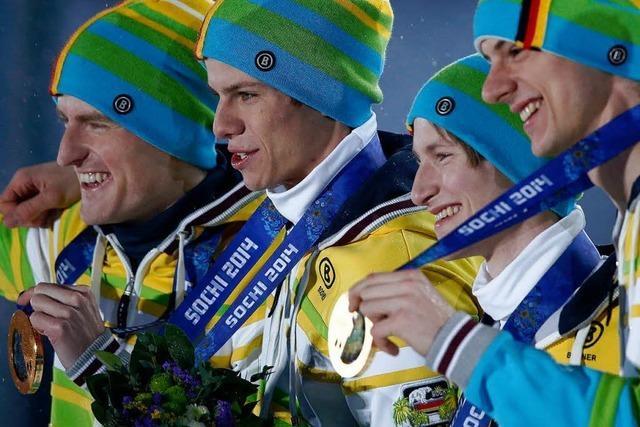 Deutsche Gold-Skispringer bedanken sich bei ihren Fans