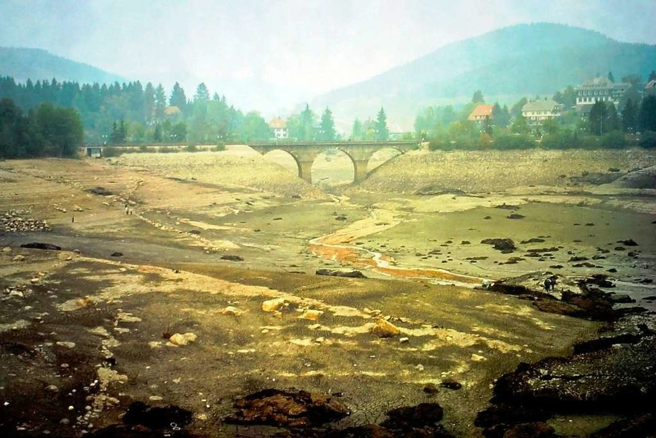 Das Eisenbahnviadukt am kleinen See ist trockengelegt. (Foto: Roland Dittl)