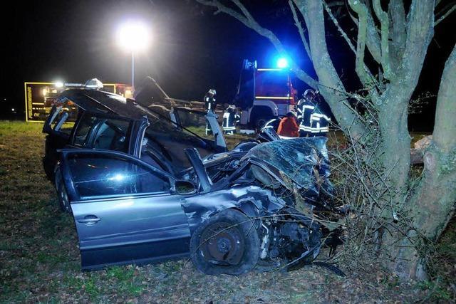 Autofahrer rast gegen einen Baum