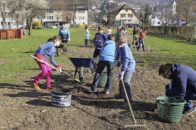 Schüler säubern das Schlosser-Areal