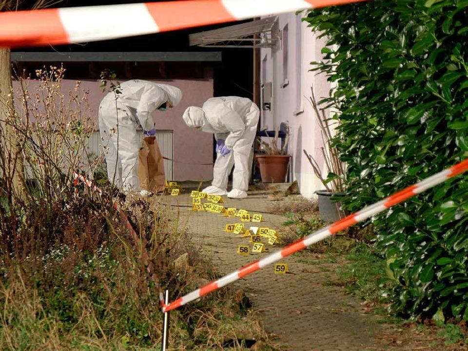 """""""Es war wie im Film"""": der Tatort in Biengen am 11. Januar 2013.    Foto: Alexander Huber"""
