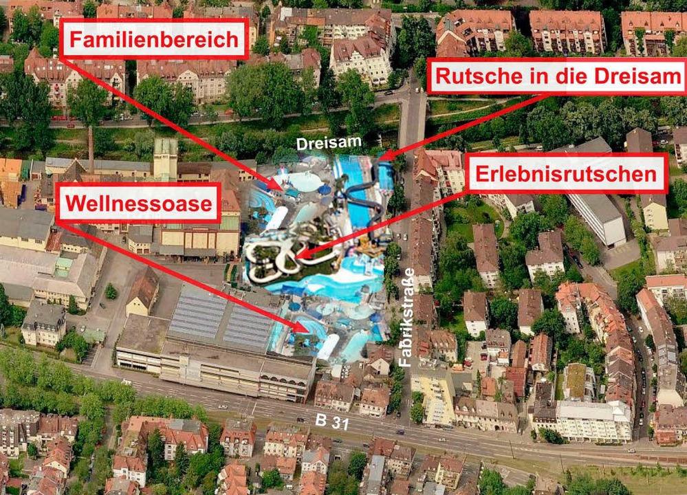 Auf dem Areal der Brauerei Ganter soll ein neues Freizeitbad entstehen.  | Foto: BZ