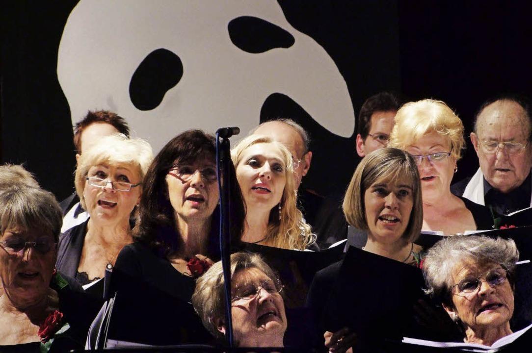 Vor der Maske des Phantoms der Oper: D... Gesangverein Weil und New Formation.     Foto: Martina David-Wenk
