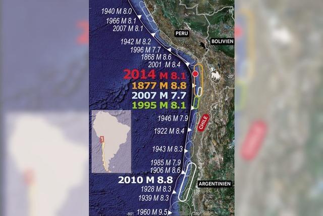Vor Chile wackelt die Erde mit einer Stärke von 8,2