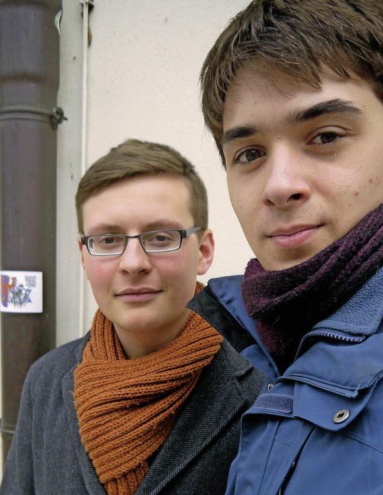 Felix Flaig (links) und Johannes Hebsacker wollen an die NS-Zeit erinnern.  | Foto: Sonnenberger