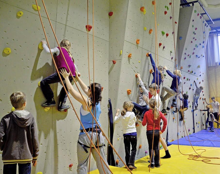 Ran an die Wand! Friedrich-Gymnasiasten können nun klettern.  | Foto: privat