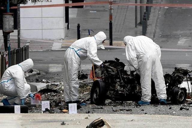 Vor Merkel-Besuch:Autobombe explodiert in Athen