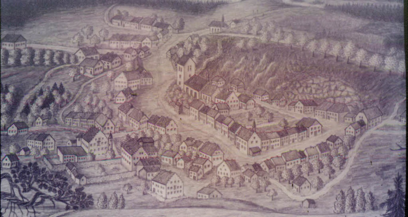 So sah Bonndorf im 16. Jahrhundert aus...and  das Paulinerkloster mit Kirche.    | Foto: Archiv Hany