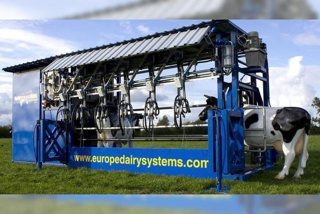 Landwirtschaftsamt stellt mobile Melkanlage mit Kuhlift vor
